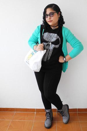 black Zara leggings - silver boots - aquamarine Zara cardigan