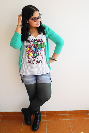 black boots - dark green tights - navy shorts - off white Disney t-shirt