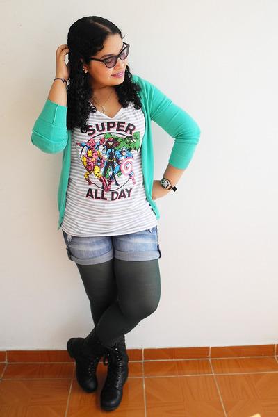 black boots - dark green tights - navy shorts - off white Disney t-shirt