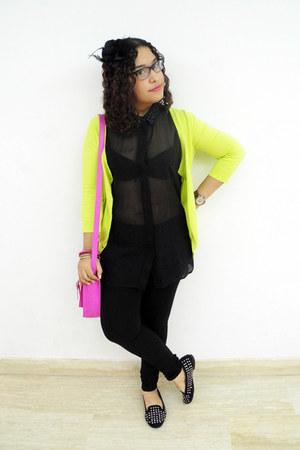 black Zara leggings - hot pink balu bag - black Bershka blouse