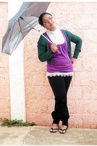 green Bershka cardigan - white top - purple top - black jeans - black shoes - gr