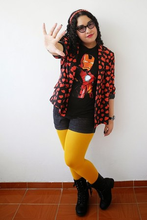 mustard Zara boots - ruby red True Addiction blazer - black Marvel t-shirt