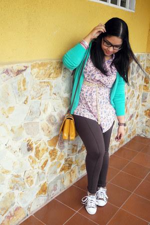 aquamarine Zara cardigan - dark brown Naf Naf leggings - mustard Zara bag