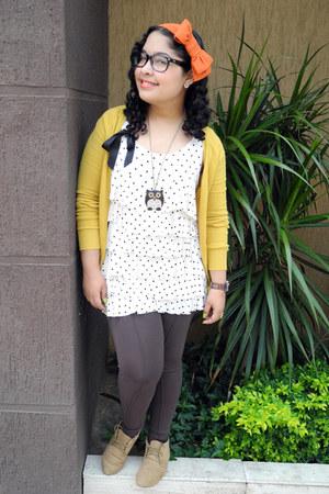 white polka dots Naf Naf blouse - mustard Zara cardigan