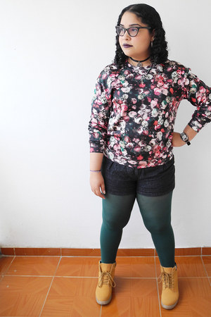 mustard boots - dark green tights - dark gray shorts - brick red blouse