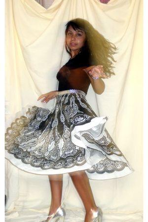 black blouse - black skirt - silver Charlotte Russe shoes - silver belt
