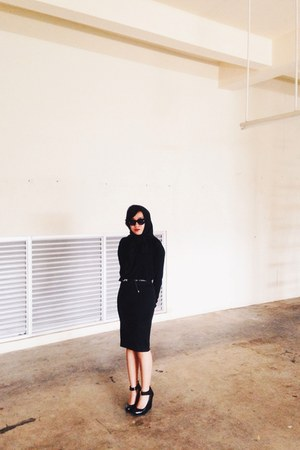 black Guess shoes - black Zara sweater - black Mango sunglasses