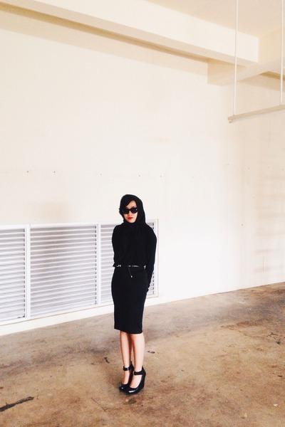 black Guess shoes - black Zara sweater - black Mango sunglasses