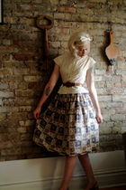beige vintage blouse - brown vintage skirt - brown vintage shoes