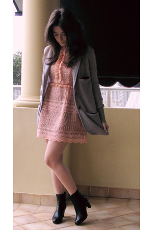 black Ralph Lauren shoes - pink sretsis dress - gray sretsis jacket