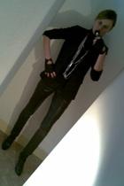 Zara jacket - Zara blazer - Kate Moss for Topshop pants - Secondhand gloves - Za