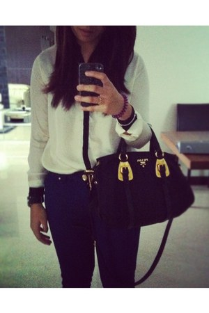 blue Zara jeans - gold Prada bag - white H&amp;M blouse