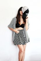 black Adidas hat - black landmark blouse - white SM GTW skirt