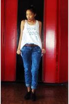 white Just G blouse - brown Moms belt belt - blue mode pants - brown Cubao Expo