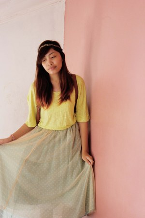 aquamarine tutu sm department store skirt - lime green neon cotton bench t-shirt