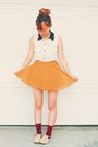 Ruby-red-socks-white-collared-blouse-blouse-mustard-circle-skirt-skirt