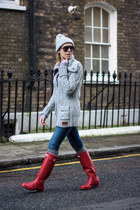 red Hunter boots - blue Zara jeans - heather gray Superdry cardigan