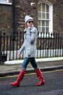 Red-hunter-boots-blue-zara-jeans-heather-gray-superdry-cardigan