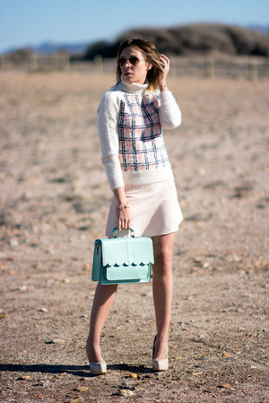 aquamarine asos bag - light pink River Island skirt - ivory asos jumper