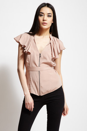 light pink zipper ruffle stella & jamie top