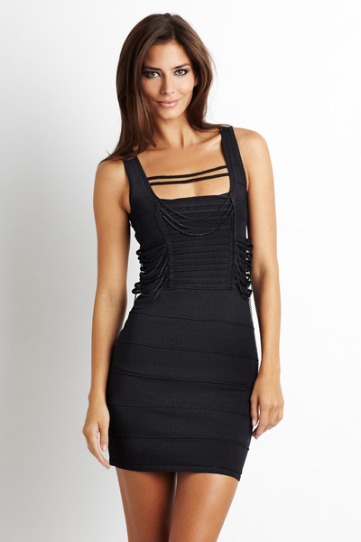black bandage chain Wow Couture dress