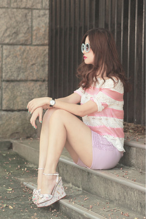 light pink romwe top - light purple romwe shorts