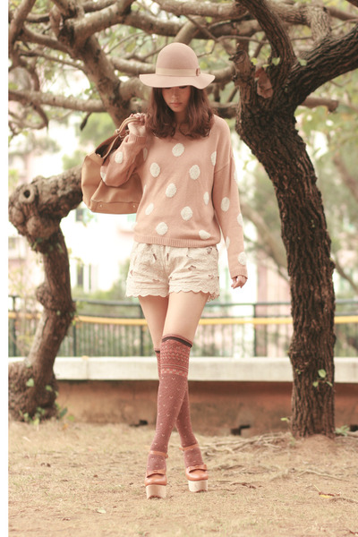 neutral Monki hat - nude H&M sweater - eggshell H&M shorts - bronze Opening Cere