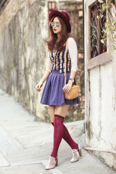purple romwe skirt - mustard Miu Miu bag - navy Alices Pig top