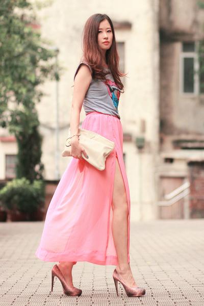 bubble gum chicnova skirt - heather gray Yesstyle top