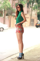 forest green romwe blouse - red Motel Rocks shorts - heather gray Miu Miu heels