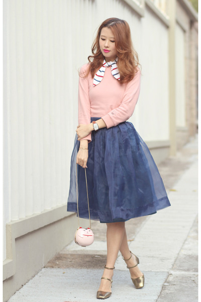 cream kate spade bag - navy Chicwish skirt - light pink wanderclad top