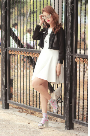 white Front Row Shop dress - black Stylenanda jacket