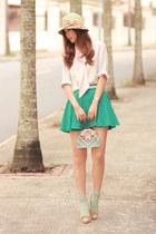 turquoise blue Chicwish skirt - cream vintage blouse - eggshell Chloe heels