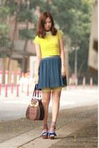 blue viktor & rolf sandals - yellow mesh Rue du Mail dress