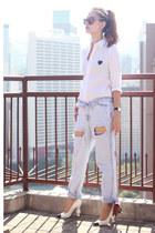 white CDG play shirt - light blue Choies jeans - deep purple Choies sunglasses
