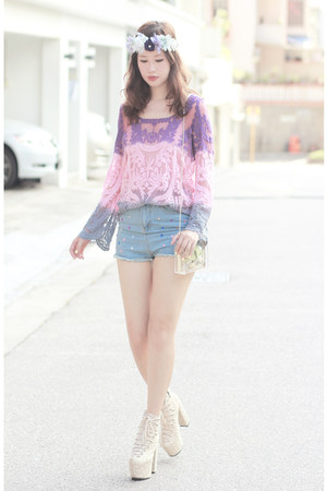 light purple romwe top - ivory sleeh boots - blue romwe shorts