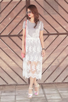 white Choies dress - salmon Oroton bag - peach Carven flats