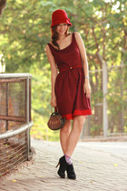 maroon rose tatu dress - black paul & joe heels