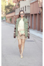 army green DS coat - chartreuse Celine bag - eggshell Yesstyle skirt
