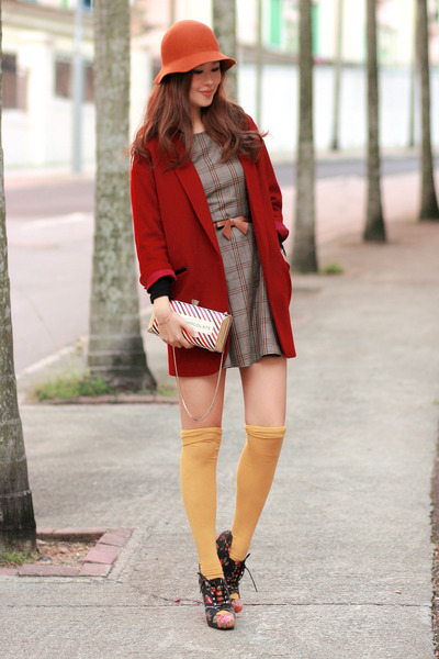 dark khaki Love dress - ruby red Chicwish blazer - maroon kate spade bag