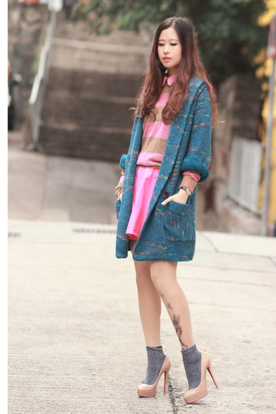 blue beckybwardrobe cardigan - hot pink romwe sweater - bubble gum Choies skirt