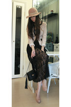black from laurustinus dress - beige Monki hat - nude Christian Louboutin heels