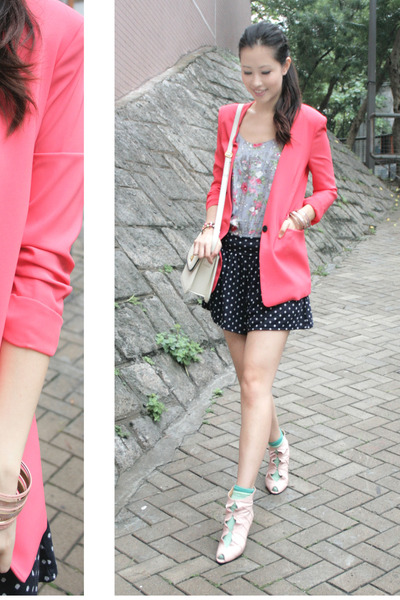 pink seven connection blazer - gray top - pink edwina shoes