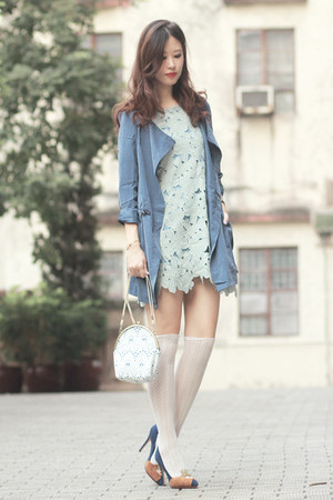 periwinkle Chicwish dress - navy Chicwish coat - ivory romwe bag