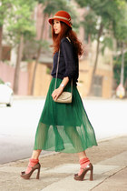 gray Miu Miu heels - navy Yesstyle sweater - green natural colour skirt