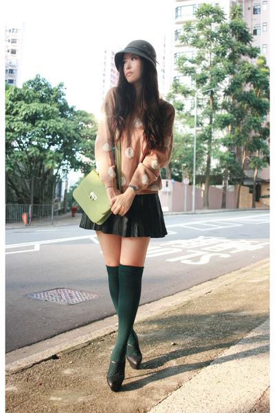 tan H&M blouse - black Zara skirt - black viktor & rolf shoes