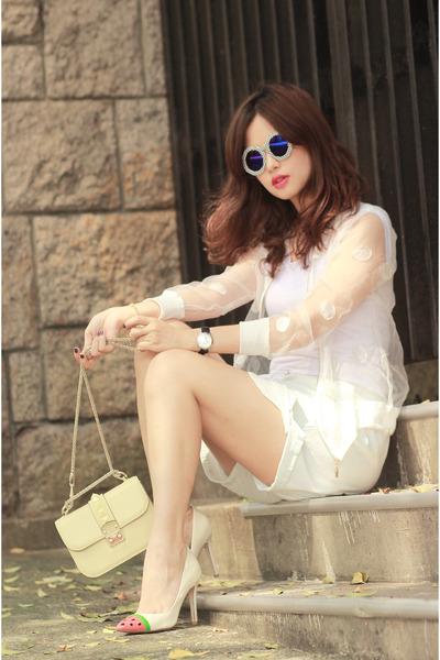 white romwe jacket - off white American Apparel shorts - navy romwe glasses