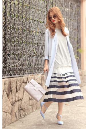 navy b  ab skirt - periwinkle Tout a Coup blazer - violet Venilla Suite heels