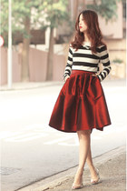 black Choies top - ruby red Choies skirt - gold Choies necklace