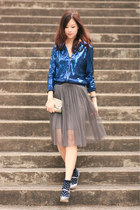 blue H&M jacket - silver Miu Miu heels